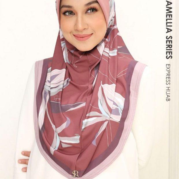 Qaisya Camellia Series Express Hijab Lycra